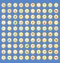 100 adventure icons set cartoon vector image