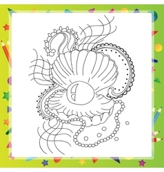 Black and white sea shell for coloring book vector image