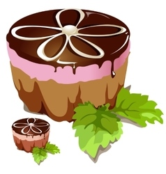 Chocolate cake with pink layer vector image vector image
