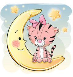 cute cartoon tiger on the moon vector image vector image