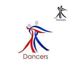 Dancing couple abstract emblem template vector image