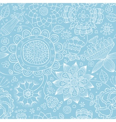 floral seamless blue vector image vector image
