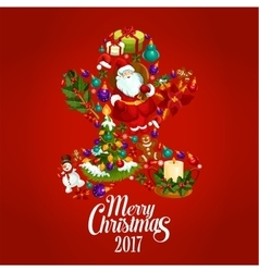 Merry Christmas 2017 poster Gingerbread man vector image
