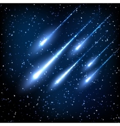 Blue night sky with shooting stars vector image