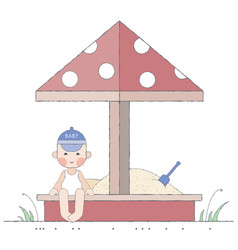 boy playing in the sandbox vector image
