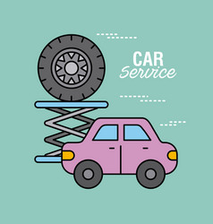 car service vehicle and tire repair support vector image vector image