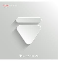 Down arrow icon - white app button vector image vector image