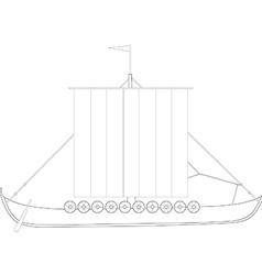 Drakkar outline drawings vector image vector image