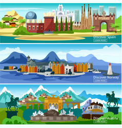 European Touristic Banners Set vector image