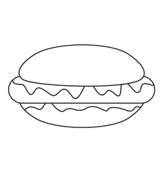 hot dog icon outline style vector image