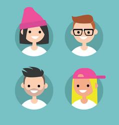 millennials profile pics set of flat portraits vector image vector image