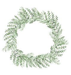 watercolor plants wreath isolated on white vector image vector image