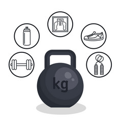 weight lifting lifestyle icons vector image vector image