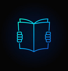 hands holding book blue icon vector image vector image