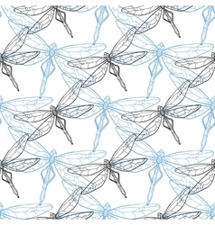 Seamless background with dragonflies vector image vector image