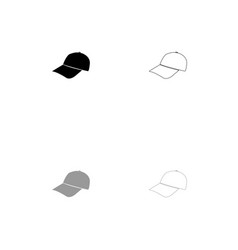 baseball cap black and grey set icon vector image vector image