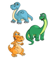 Cute cartoon green blue and orange dinosaur vector image