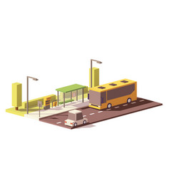 low poly bus and the bus stop vector image