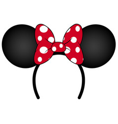 Perfect mouse ears with red bow headband vector