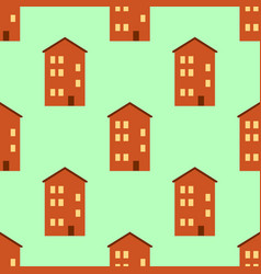seamless pattern with houses bright vector image vector image