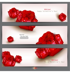 set of three banners with red gifts valentines day vector image vector image