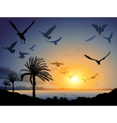 Tropical sea landscape with flock of flying bird vector image