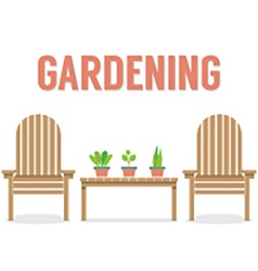 Wooden Garden Chairs And Pot Plant On Table vector image vector image
