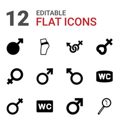 12 sex icons vector