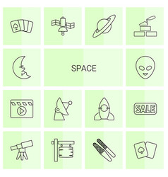 14 space icons vector image