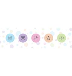 5 xmas icons vector