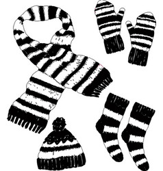 A set of wool knitwear for cold weather vector