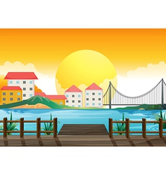 A wooden bridge across the tall buildings vector