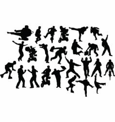 action silhouettes vector image