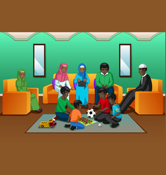 African muslim family playing in the living room vector