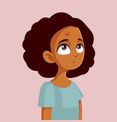 African teen girl having a pimple vector