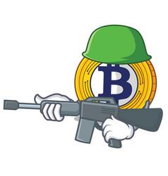 Army bitcoin gold character cartoon vector