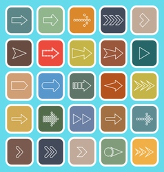 Arrow line flat icons on blue background vector