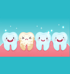 bad tooth cartoon healthy white happy teeth vector image