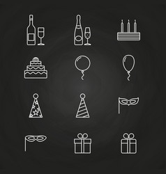 birthday party icons on chalkboard vector image