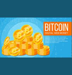 Bitcoin banner electronic web money gold vector