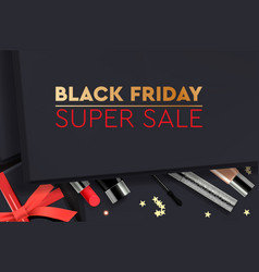 black friday super sale black gift box with vector image