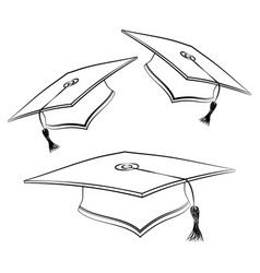 Black line student caps sketch graduation hat vector