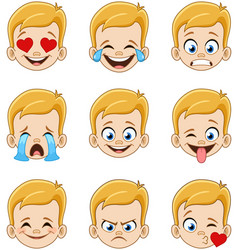 Blond boy face with blue eyes emoji expressions vector