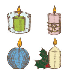 Candles color set hand draw sketch vector