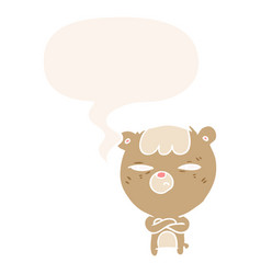 Cartoon annoyed bear and arms crossed and speech vector