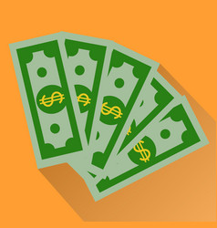 cash green dollars icon isolated on orange vector image