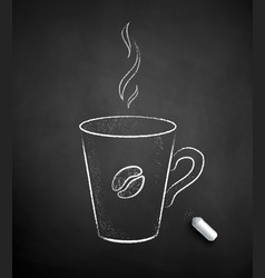 chalk drawn coffee cup vector image