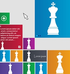 Chess king icon sign buttons Modern interface vector image