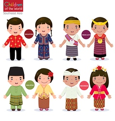 Children of the world Singapore Malaysia Timor vector