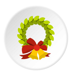 christmas wreath with bell icon circle vector image